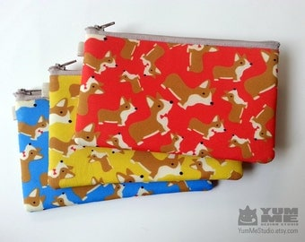 Corgi Zipper Pouches Red Yellow or Blue (Made to Order)