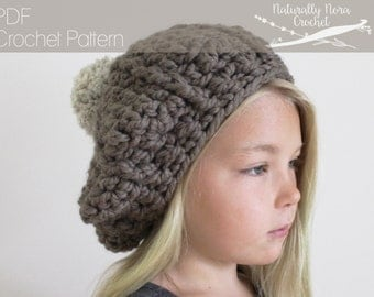 Crochet Pattern: The Iris Beret -Toddler, Child, & Adult Sizes- Slouchy Hat, chunky, pompom, textured