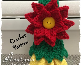 CROCHET PATTERN to make a Christmas Poinsettia Kitchen or Bath Towel Topper Ring with decorative skirt. Instant Download, PDF Format