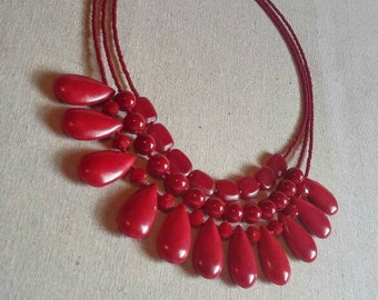 Red Poppy Bib Necklace