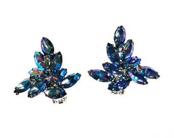 Blue Rhinestone Earrings, Aurora Borealis, Marquise Rhinestones, Cluster, Statement Earrings, Clip On Earrings