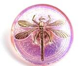 31mm Golden Dragonfly Czech Glass Button, Sparkling Pink Handmade Button bead, size 14, 1pc - 1941