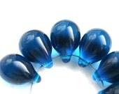 Indicolite Blue Teardrop beads, Blue Briolettes, large czech glass drops - 10x14mm - 6Pc - 2177