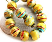 8mm Bright Yellow Striped round beads, czech glass bright beads, coated, druk, yellow and blue - 20Pc - 2538