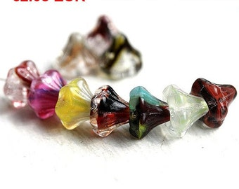 ON SALE Flowers beads mix - Multicolor, mixed color - czech glass, 10mm - 10Pc - 1470