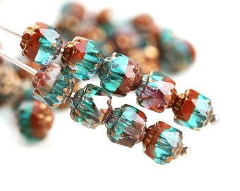 6mm Fancy Cathedral Czech Glass beads, Mixed Teal Brown, Golden ends, fire polished, round - 15Pc - 1212