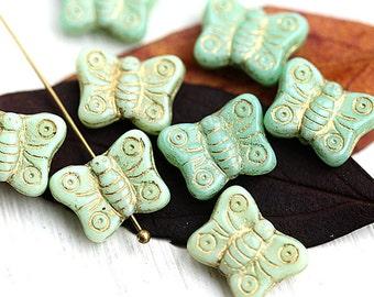 8pc Butterfly beads, Sage green beads mix, golden inlays, gold washed, czech glass, butterflies - 2427