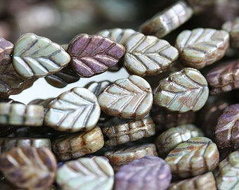 Leaf beads - Mother of pearl shine, Picasso grey green, Czech glass pressed leaves - 11x8mm - 10Pc - 0594