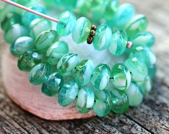 Teal Green beads mix, Czech glass rondelle beads, spacers, rondels, donuts - 4x7mm - 25Pc - 2006