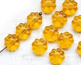 Yellow Flower beads, czech glass flat daisy, transparent Yellow floral bead - 9mm - 20Pc - 0046