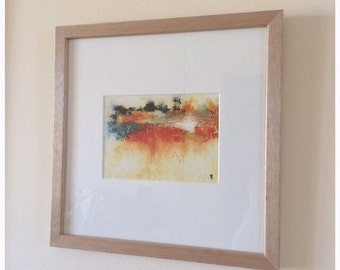 Original 5 x 7 - Contemporary -Expressive Landscape - Abstract -  Painting by Kylie Fogarty
