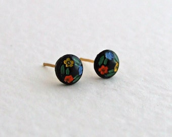 Black Floral Earrings ... black earrings, folk art earrings, small studs, tiny earrings