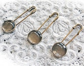 Reneabouquets Vintage Look Pin With Glass Dome Cabochon Set Of 3 Shawl Pin, Hat Pin, Safety Pin