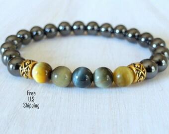 Men's Hematite, Tiger eye bracelet, tribal bracelet, mala, bracelet mala, yoga bracelet, Reiki, wrist mala, healing, mala, protection
