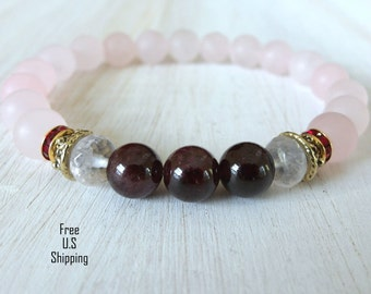 Love & Passion, Rose Quartz, Garnet, healing bracelet, Yoga Bracelet, Meditation bracelet, Reiki, wrist mala, gemstone bracelet, beaded