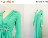 CLOTHING SALE Vintage Dress 60s Mad Men Formal Prom Dress Pistachio Green Rhinestone Accent Full Length Long Sleeve Dress Modern XL
