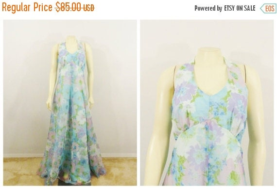 CLOTHING SALE Vintage Dress 60s 70s Mad Men Era Flower Power Double Layer Chiffon Maxi Halter Dress Metal Zipper sz  Small Tall