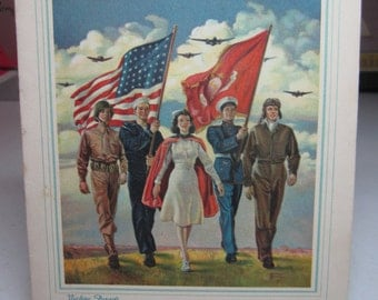 Colorful 1940's patriotic world war 2 christmas card artist signed Bettina Steinke called keep em flying, nurse armed forces servicemen