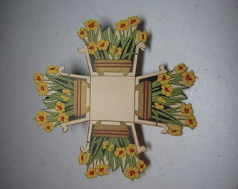 Gorgeous 1920's unused Art Deco die cut gold gilded Gibson nut cup yellow and red flowers in deco planter, spring, easter, wedding
