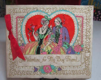Unused gorgeous hand colored gold gilded art deco 1920's-30's Rust Craft valentine for boyfriend pretty 17th century lady and man ,garden