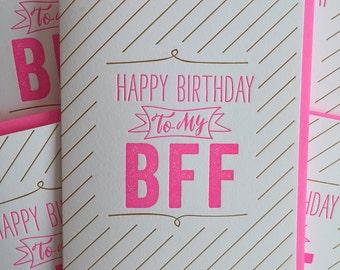 best friends - Best Friend Card - BFF Birthday Card - Best Friend Birthday Card - Letterpress best friend birthday card.