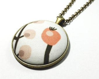 Pink Flower Necklace fabric button Pendant necklace covered button flower necklace floral button floral fabric necklace simple everyday