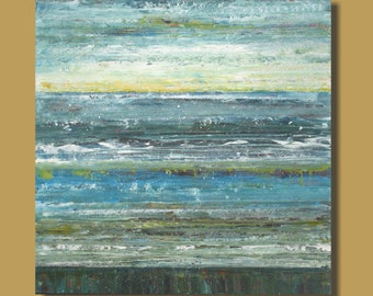 seaside painting, abstract painting, abstract ocean painting, blue yellow gray, large art, square wall art, beach landscape  30x30