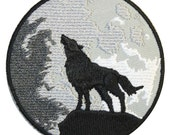 Wolf and Moon Iron On Patch Embroidery Sewing DIY Customise Denim Cotton Cute Gothic Hippy Moon Phase Occult Halloween Horror