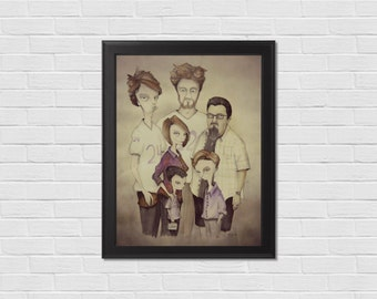 Custom self portraits, family birthday gift, custom Watercolor Portrait, 18 x 24, gift for sister, Whimsical Art, OOAK, Kids, Parents, pets