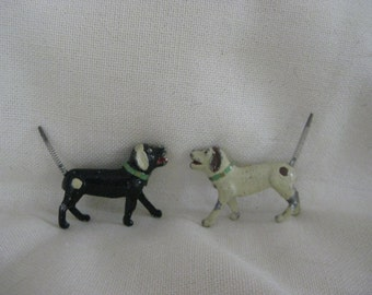 Antique Pair of Lead Dogs with Spring Tails