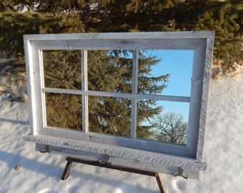 """Custom Made Barnwood Framed Mirror with 6 panes overall size of 36"""" x 24"""""""