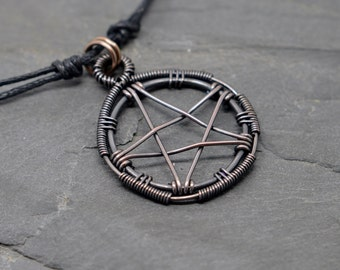 Large pentacle necklace wire wrapped oxidized copper
