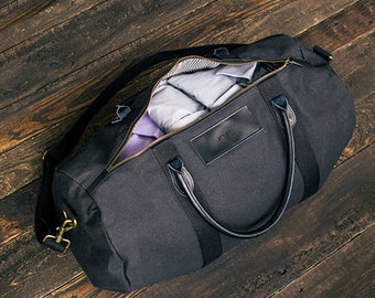 Personalized Canvas and Leather Duffel Bag Groomsmen Gym Travel Duffle Gift