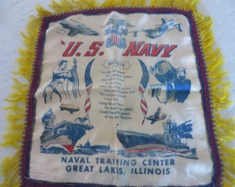 Mid Century U. S. Navy Pillow Cover - Satin US Navy Pillow - Vintage Souvenir Pillow