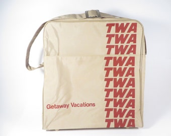 TWA Getaway Vacations Travel Bag Tote - Vintage TWA Airline Carry On Tote