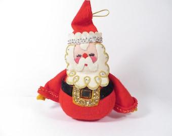 Vintage Felt Santa Claus Doll - Handmade Beaded Sequined Santa Claus Doll