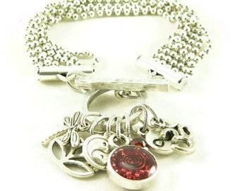 Orgone Energy Multi Strand Zen Charm Bracelet in Antique Silver with Red Garnet-Meditation Bracelet -Orgone Energy Jewelry - Artisan Jewelry
