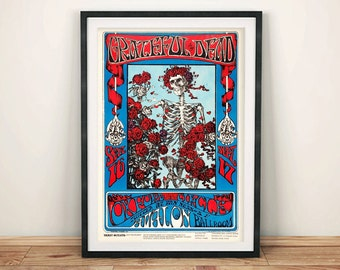 GRATEFUL DEAD POSTERS: Vintage Tour Poster Reproduction, Rock Concert Art Print Wall Hanging