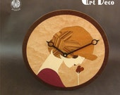 Wood Wall Clock with Art Deco Female inlay.