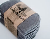 Baby Cloth Wipes - Reusable Baby Cloth Diaper Wipes - Set of 15  Wipes - Solid Grey Gray