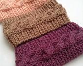 Cable Twist Knit Earwarmer, Headband   Pink, Brown, Plum   Vegan Yarn