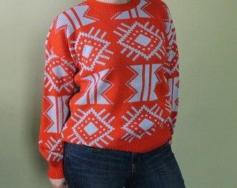 Vintage Aztec Print Sweater - 90s Ugly Sweater - Hipster Oversized Abstract Unisex Orange - Orange Sweater