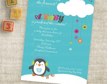 Winter Penguin Baby Shower or Birthday Party Invitation Printable Custom Digital Printable File with Professional Printing Option