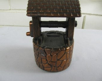 Vtg Wishing Well bank copper plated pot metal
