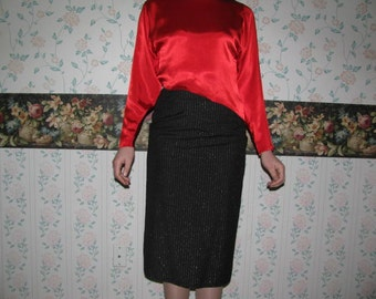 80's Disco SUIT red shirt black & silver pinstriped jacket and skirt size S