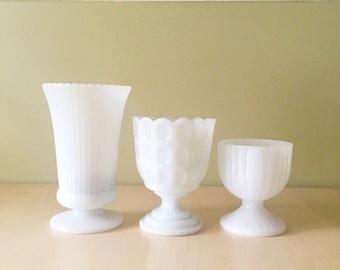 Milk Glass Vases/ Compotes/ Goblets Set of 3