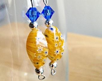 Yellow and Blue Millefiori Flower Glass Dangle Earrings