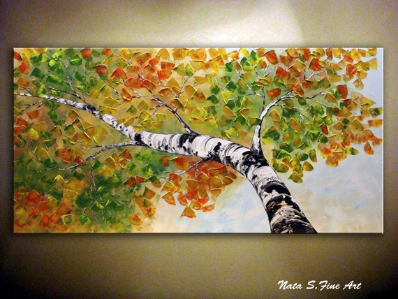 Birch Tree Painting.Original Modern Textured Painting.Palette Knife.Impasto.BirchTree.Looking Up.Large Artwork. MADE to ORDER...- by Nata S.