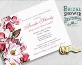 Magnolia Spring Bridal Shower Invitation with Pink Vintage Flowers - Custom Printable Bridal Shower Invite - Digital File 5x7 or 4x6