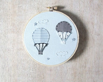 Hot Air Balloons Nursery Wall Art Embroidery Hoop Art